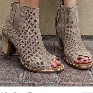 Toms Taupe Majorca Peep Toe Booties Sandals